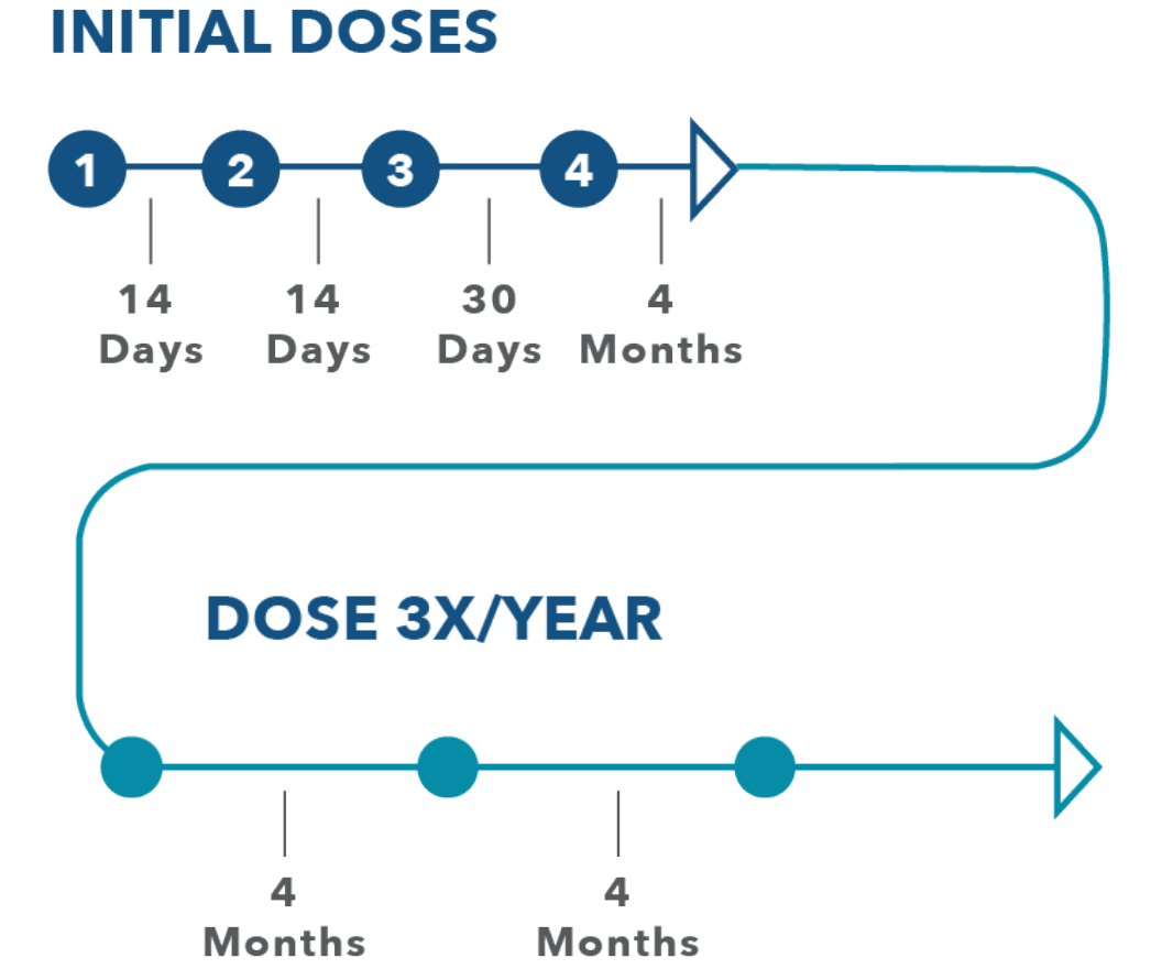 Image of the SPINRAZA dosing schedule